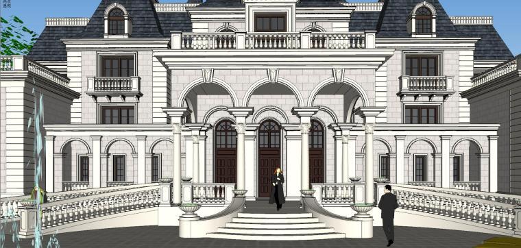[福建]福州法式风格独栋豪宅建筑模型设计-福州法式风格独栋豪宅建筑模型设计 (6)