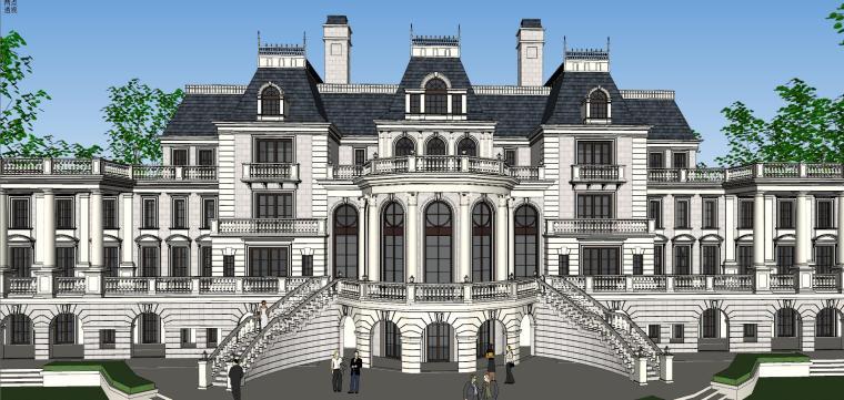 [福建]福州法式风格独栋豪宅建筑模型设计-福州法式风格独栋豪宅建筑模型设计 (9)