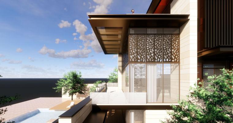 知名企业现代新亚洲风格独栋别墅建筑模型 (3)