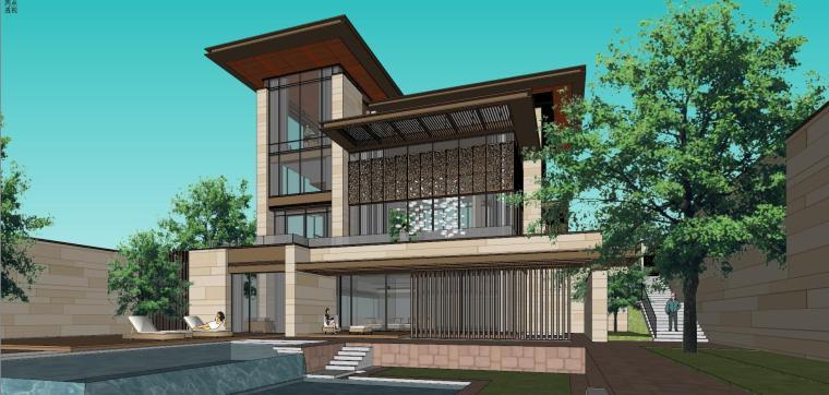 知名企业现代新亚洲风格独栋别墅建筑模型 (4)