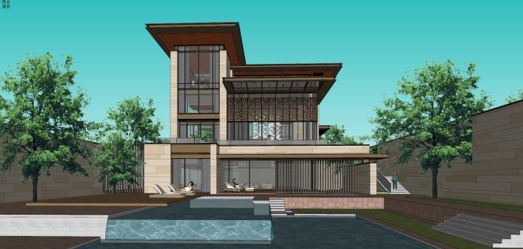 知名企业现代新亚洲风格独栋别墅建筑模型 (5)