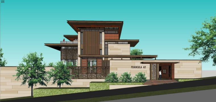 知名企业现代新亚洲风格独栋别墅建筑模型 (6)