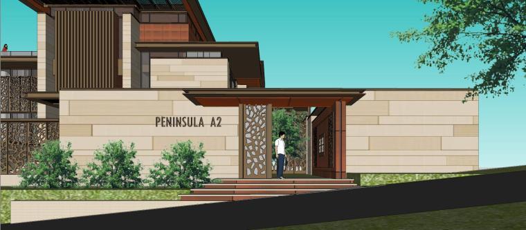 知名企业现代新亚洲风格独栋别墅建筑模型 (7)