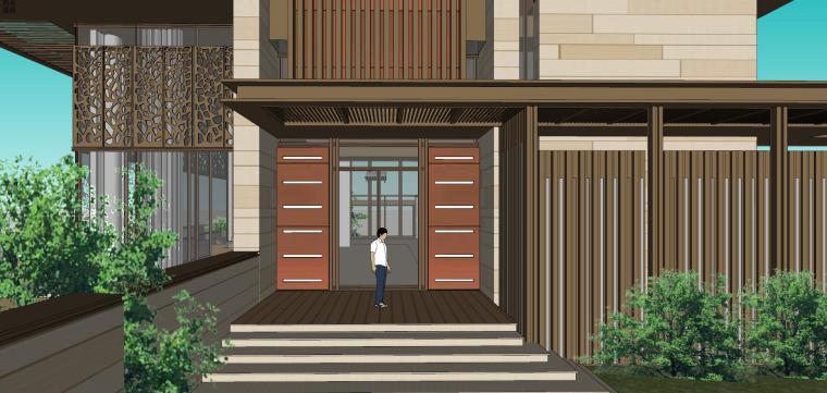 知名企业现代新亚洲风格独栋别墅建筑模型 (8)