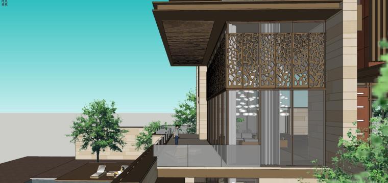 知名企业现代新亚洲风格独栋别墅建筑模型 (9)
