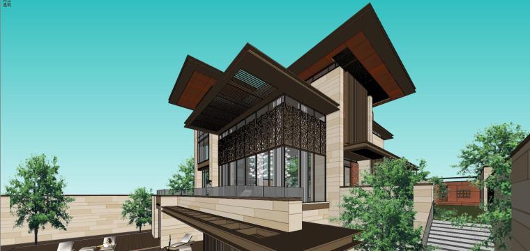 知名企业现代新亚洲风格独栋别墅建筑模型 (10)