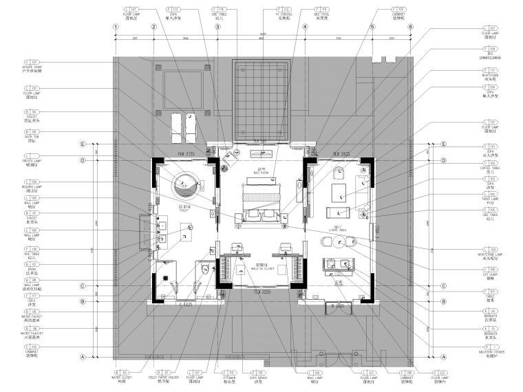 [丽江]复华度假世界88㎡独栋别墅装修施工图-独栋别墅家具平面图