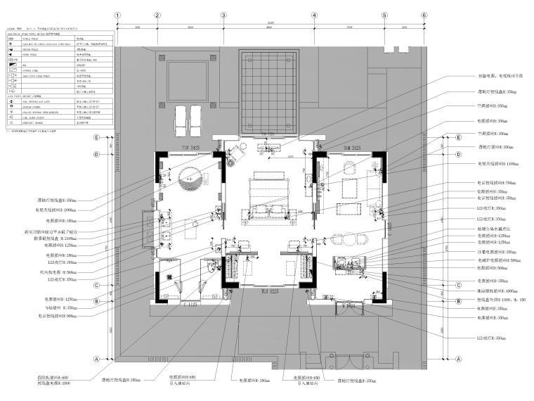 [丽江]复华度假世界88㎡独栋别墅装修施工图-独栋别墅机电平面布置图