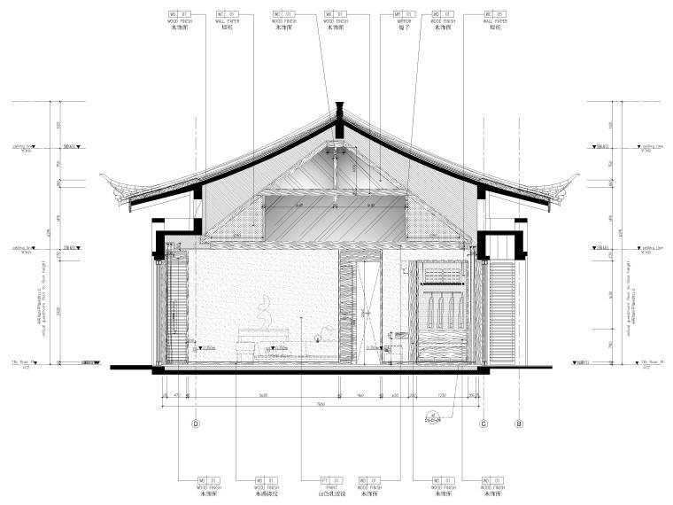 [丽江]复华度假世界88㎡独栋别墅装修施工图-别墅立面图