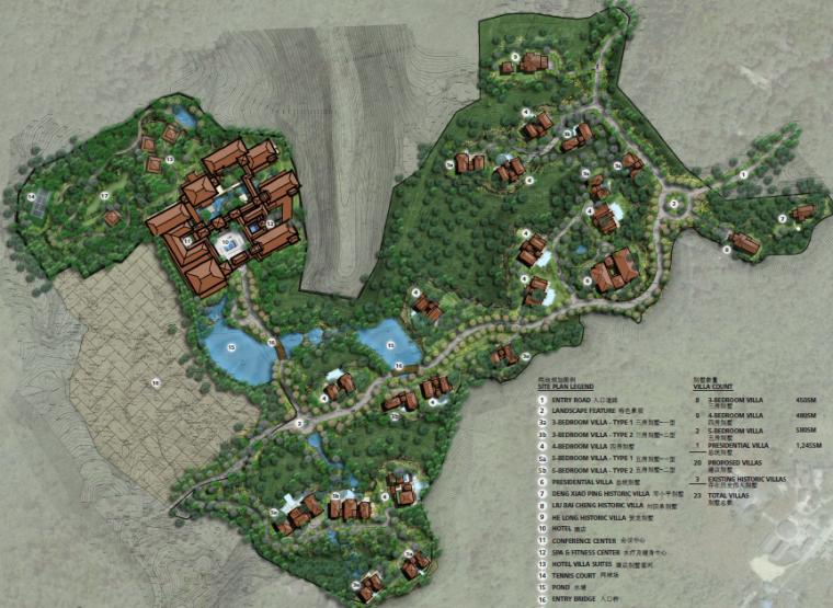 [重庆]生态竹林山间度假酒店景观设计方案-总平面图