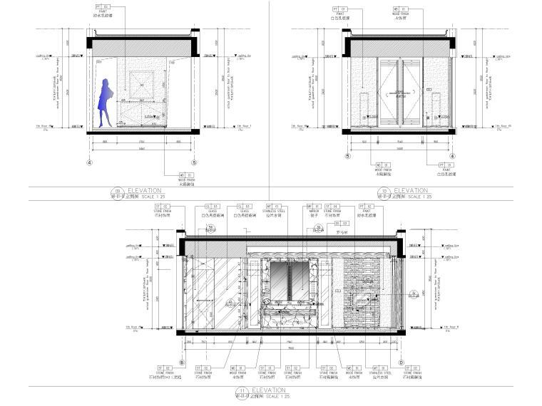 [丽江]复华度假世界88㎡独栋别墅装修施工图-别墅立面图2