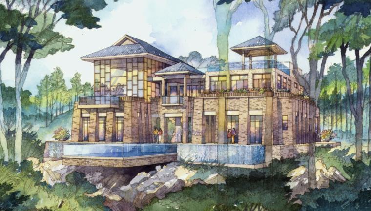 [重庆]生态竹林山间度假酒店景观设计方案-别墅区景观设计图