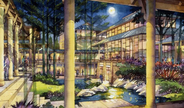 [重庆]生态竹林山间度假酒店景观设计方案-酒店庭院景观和谁