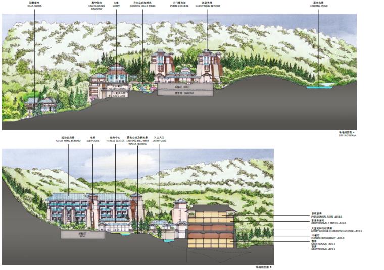 [重庆]生态竹林山间度假酒店景观设计方案-别墅区场地剖面图