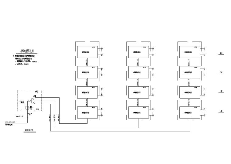 大型综合商场电气设计图纸-有线电视系统图