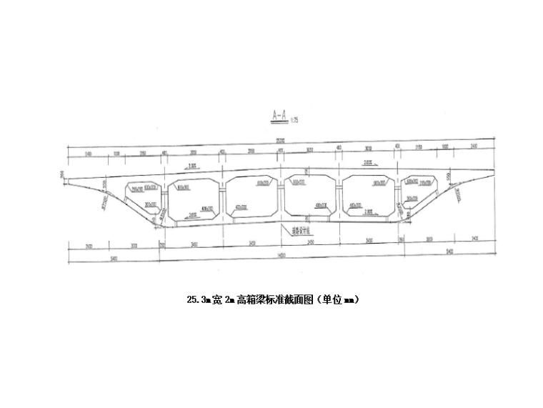 [河南]高架桥道路现浇砼箱梁施工方案-箱梁断面示意图
