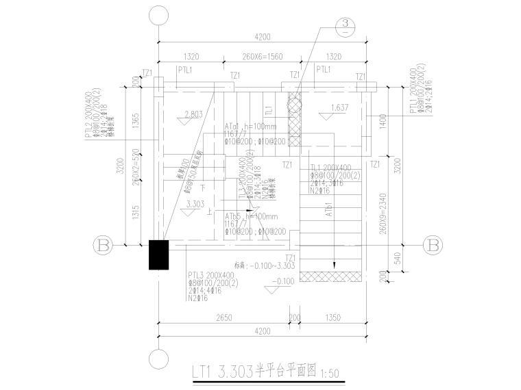[宜春]3层框架结构商贸楼结构施工图2016-楼梯结构平面图