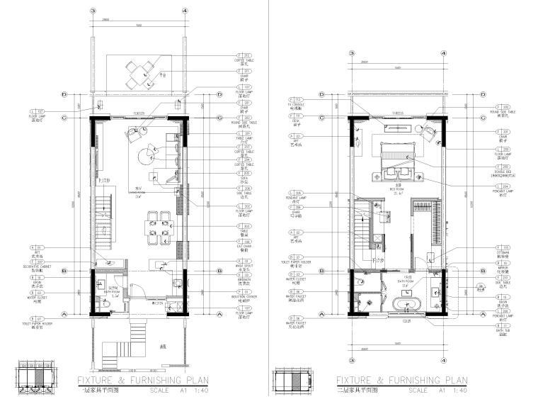 [丽江]复华度假世界57㎡联排别墅装修施工图-联排别墅1~2层家具平面图