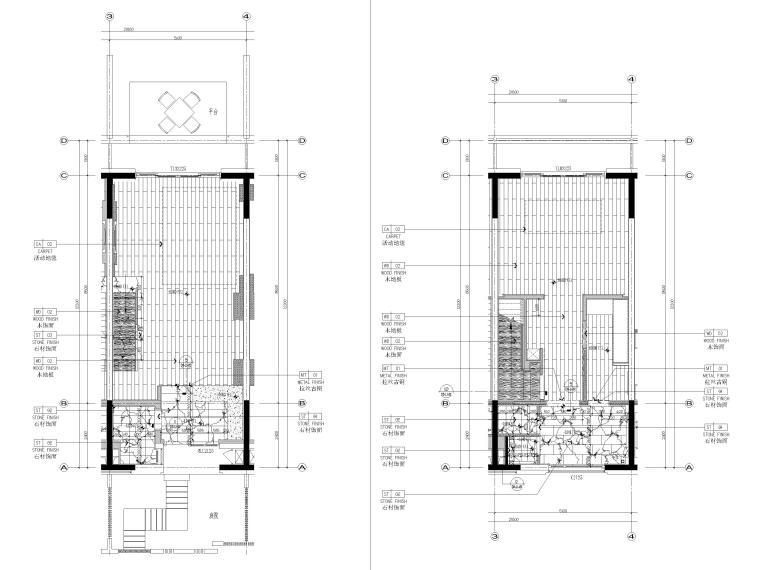 [丽江]复华度假世界57㎡联排别墅装修施工图-联排别墅1~2层地面铺装图