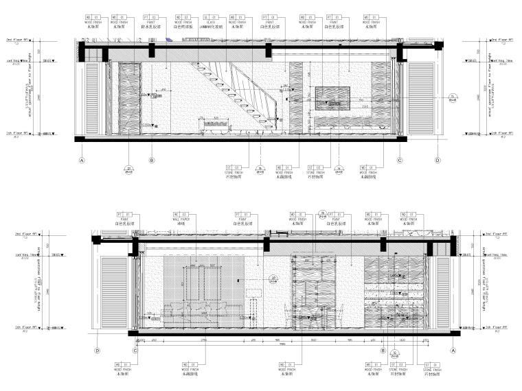 [丽江]复华度假世界57㎡联排别墅装修施工图-联排别墅一层立面图