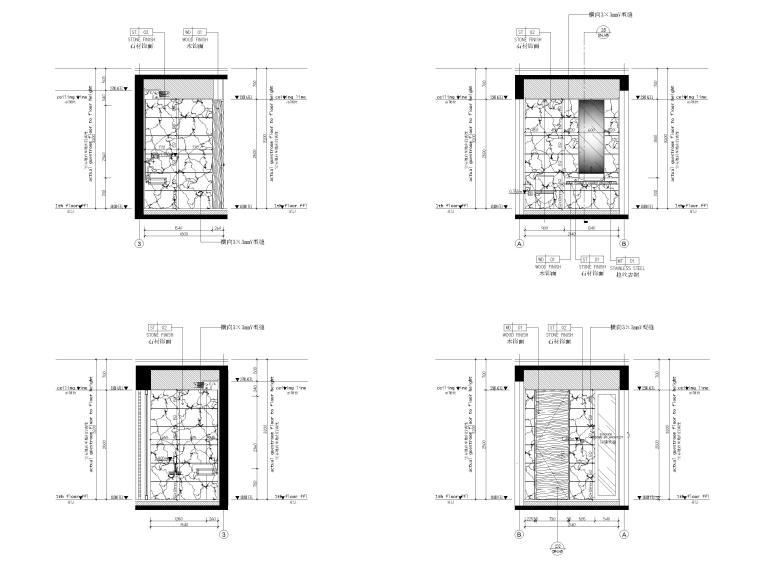 [丽江]复华度假世界57㎡联排别墅装修施工图-联排别墅一层立面图2