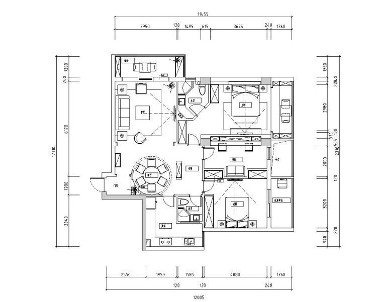 现代中式120㎡3室2厅2卫住宅装修施工图设计-01 平面布置图