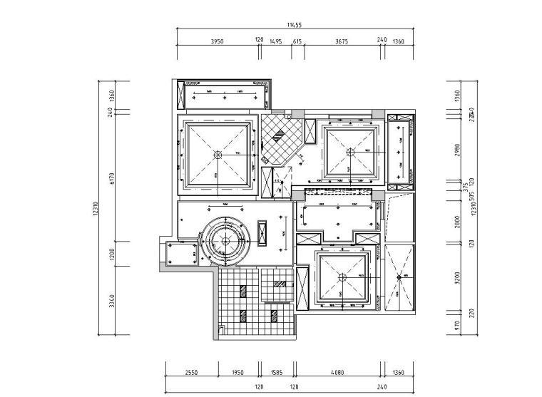 现代中式120㎡3室2厅2卫住宅装修施工图设计-灯具定位图