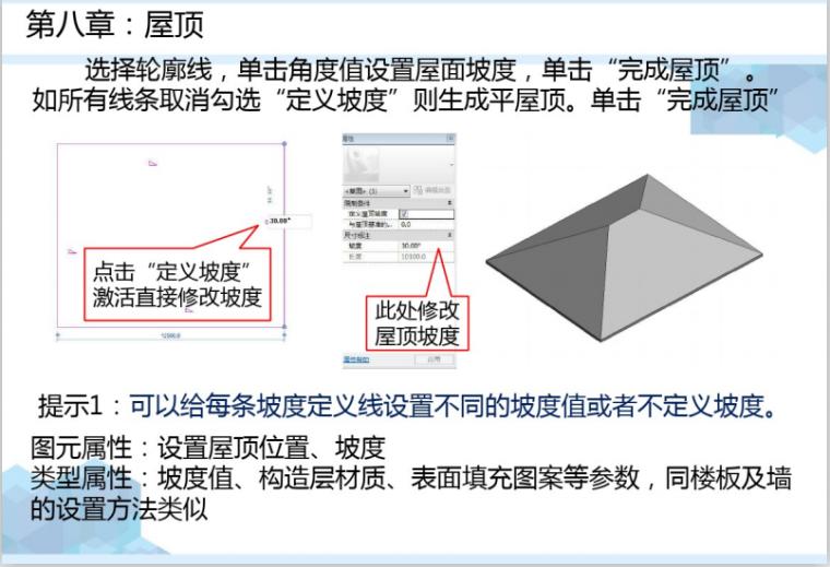 Revit建筑设计基本绘图流程讲义(127页)-屋顶绘制