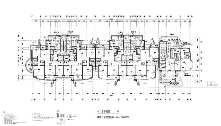 上海现代风高层1梯2户户型图设计 (9)
