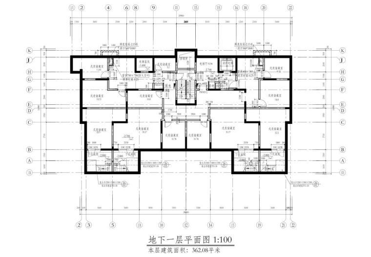 深圳1梯2户高层住宅户型图设计 (2)