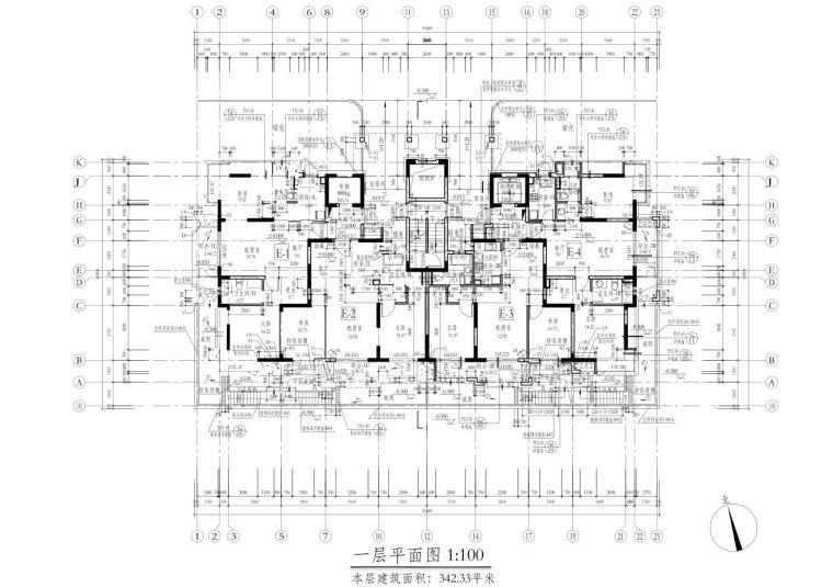 深圳1梯2户高层住宅户型图设计 (3)