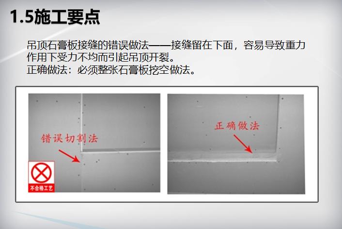 装饰装修工程施工工艺标准(104页)-吊顶石膏板接缝的错误做法