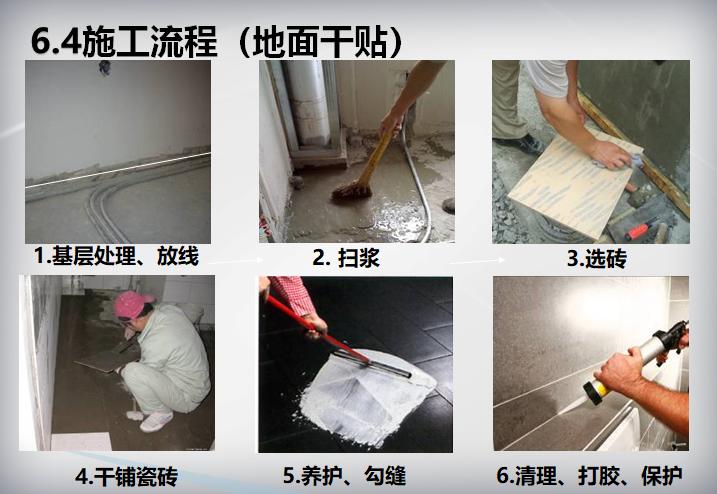 装饰装修工程施工工艺标准(104页)-施工流程(地面干贴)