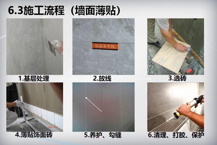 装饰装修工程施工工艺标准(104页)-施工流程(墙面薄贴)