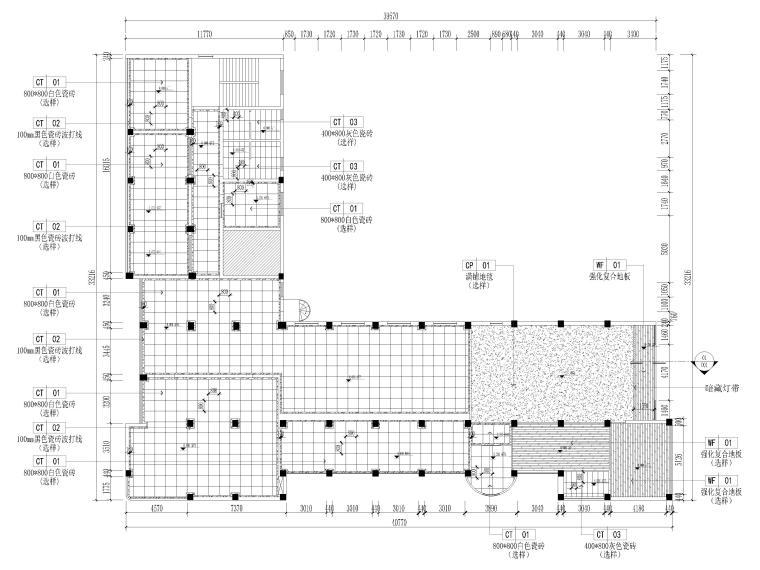 [江苏]大中镇政府社区办公室装修设计施工图-地面铺装图