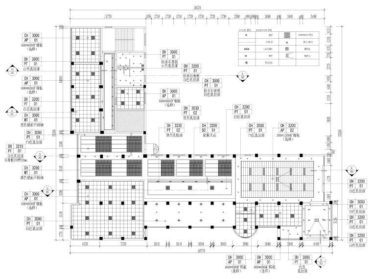 [江苏]大中镇政府社区办公室装修设计施工图-天花布置图