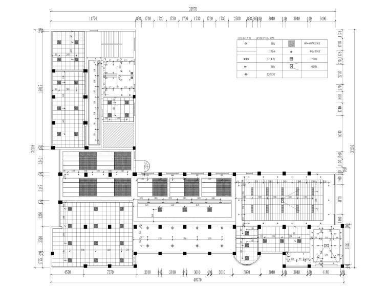 [江苏]大中镇政府社区办公室装修设计施工图-灯具定位图