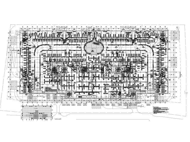 8套商业建筑全空气系统施工图纸[精品资料]-多层商业广场采暖通风及防排烟设计图纸-首层风管平面布置图