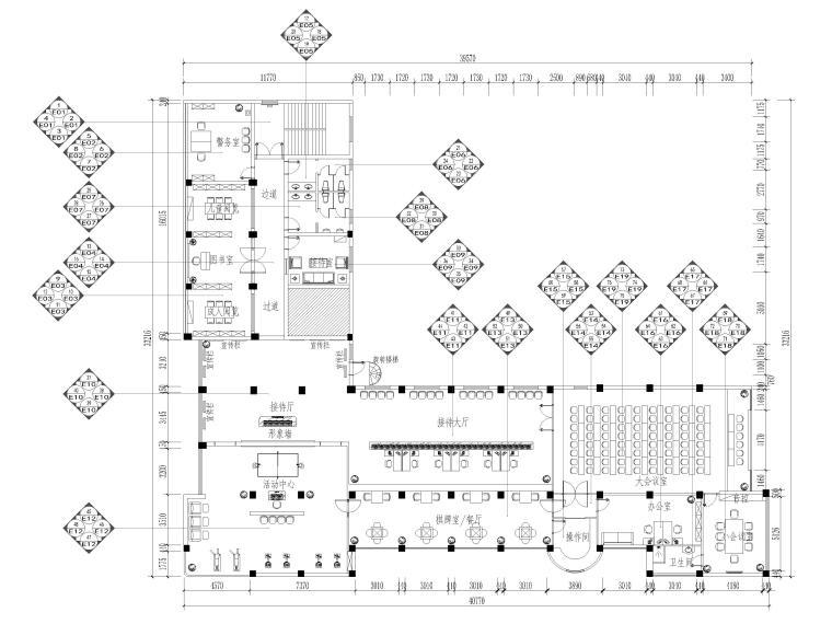 [江苏]大中镇政府社区办公室装修设计施工图-立面索引图