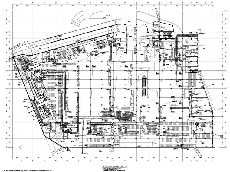 8套商业建筑全空气系统施工图纸[精品资料]-江苏多层商业建筑中央空调系统及通风设计图-地下一层(夹层)防排烟通风平面图