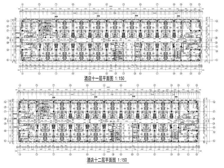 [福建]厦门地上16层高层酒店建筑施工图-酒店平面图