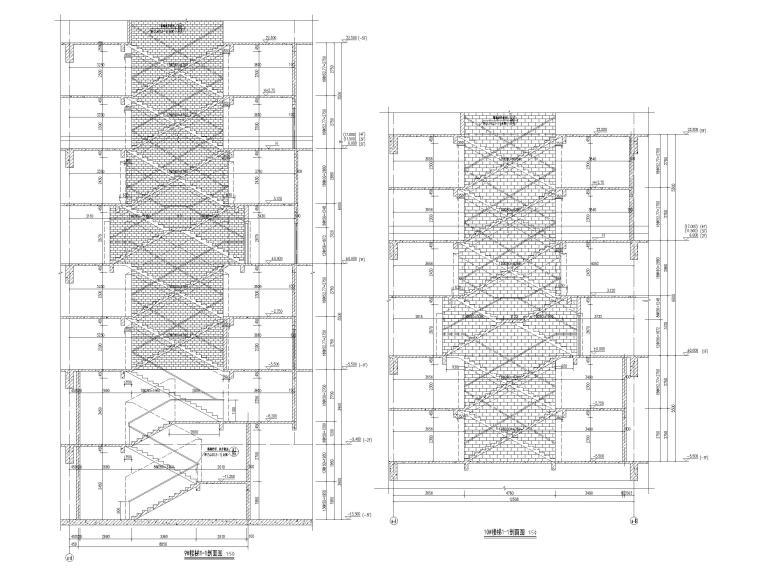 [福建]厦门地上16层高层酒店建筑施工图-楼梯剖面图