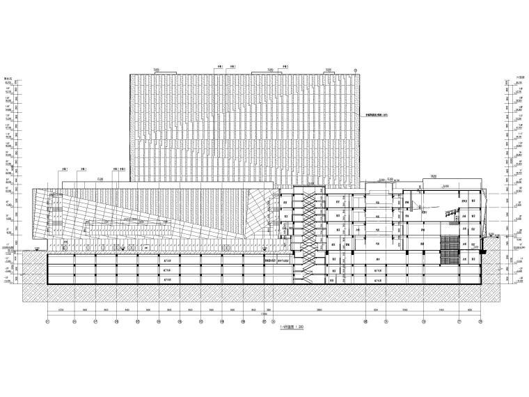 [福建]厦门地上16层高层酒店建筑施工图-1-1 剖面图