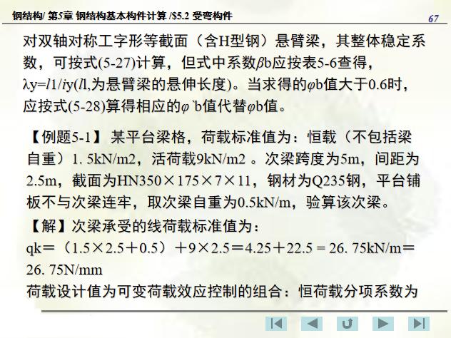 钢结构基本构件计算PPT(174页)-次梁计算例题