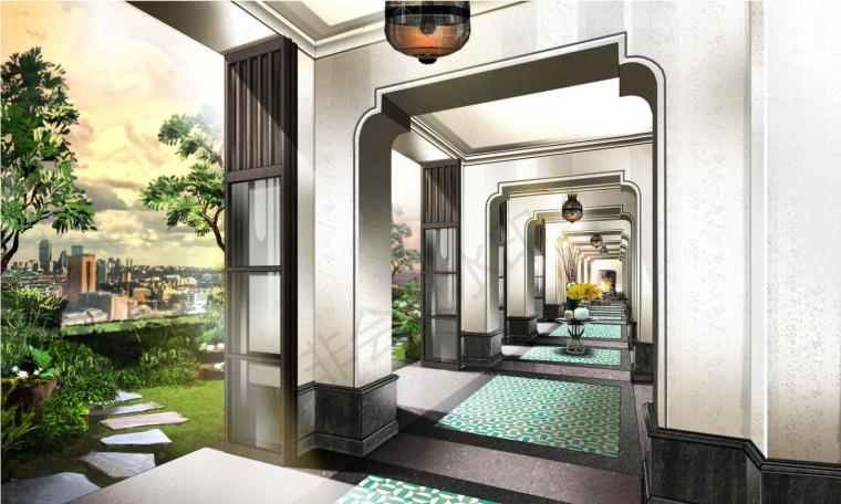 厦门安达仕酒店丨JPG平面+最终效果图丨48P-走廊效果图