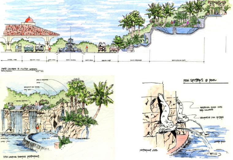 [海南]三亚旅游休闲度假酒店景观设计方案-水景立面图