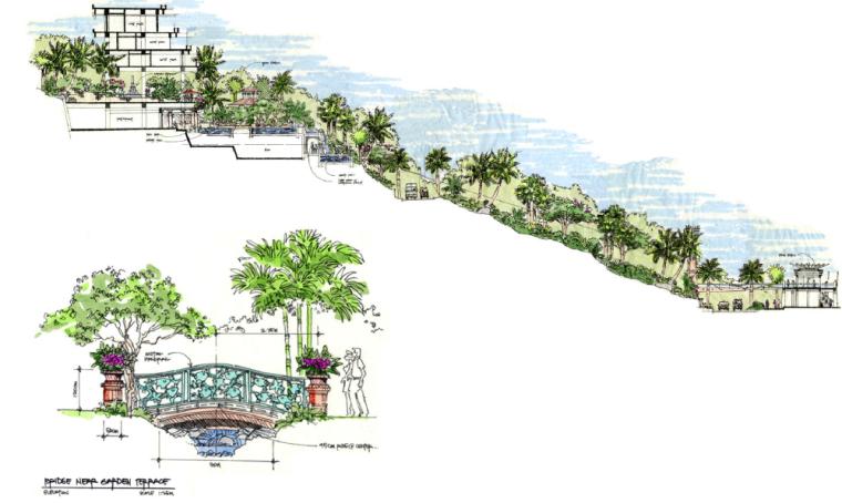 [海南]三亚旅游休闲度假酒店景观设计方案-整体高差剖立面图