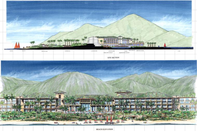 [海南]三亚旅游休闲度假酒店景观设计方案-整体立面图