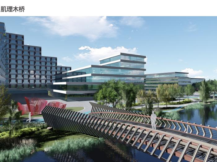杭州智慧网谷整体城市规划设计方案文本2020-肌理木桥效果图