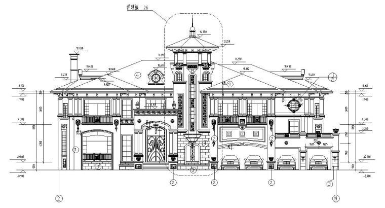 深圳高端别墅结构施工图D型CAD含建筑水暖电-建筑立面图